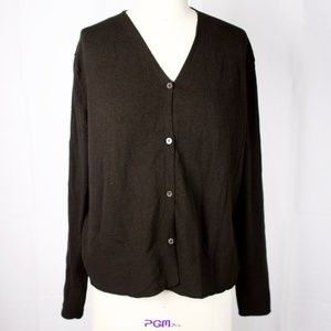 Eileen Fisher Green Knit Button Down Cardigan